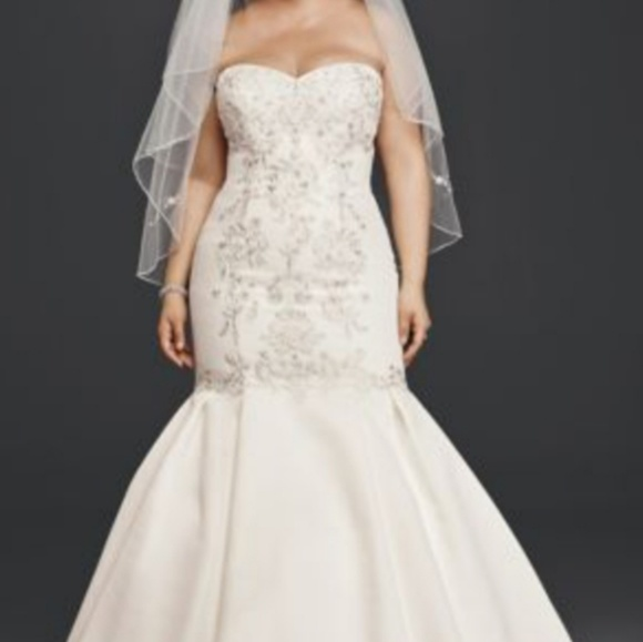Plus size wedding gown with train